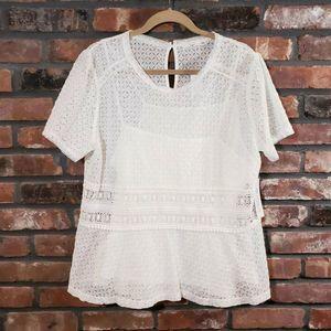 NWT Stitch Fix Hazel White S/S Lace Crochet Blouse